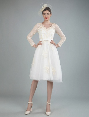 Short Wedding Dress Tulle Knee Length V Neck Long Sleeves A Line Natural Waist Bridal Gowns Exclusive_8