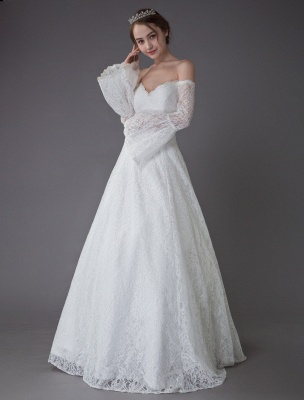 Princess Wedding Dresses Lace Off The Shoulder Long Sleeve A Line Floor Length Bridal Gown Exclusive_3