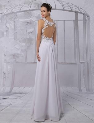 Empire Chiffon V-Ausschnitt Brautkleid mit Illusion Rücken und Blumenapplikation Exklusiv_3