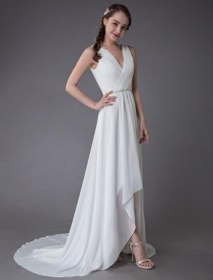 Beach Wedding Dresses Chiffon V Neck High Low Sash Summer Bridal Dress Exclusive_7
