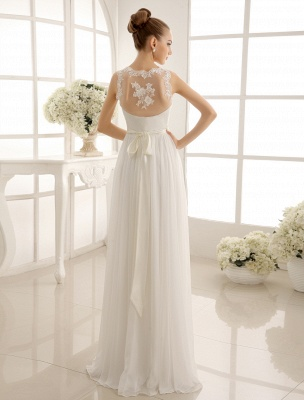 Ivory Wedding Dress Lace Sash Bow Sequins Wedding Gown Exclusive_5