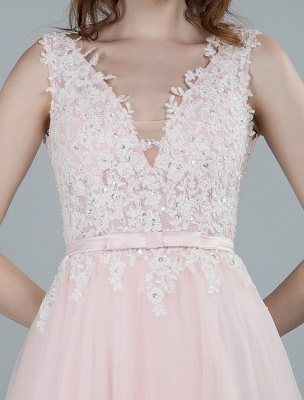 Wedding Dresses A Line Sleeveless Bows V Neck Bridal Dresses With Court Train Exclusive_10