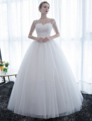 Ivory Wedding Dress Princess Ball Gown Bridal Dress Half Sleeve Lace Applique Pearls Beaded Sweetheart Floor Length Bridal Gown_3