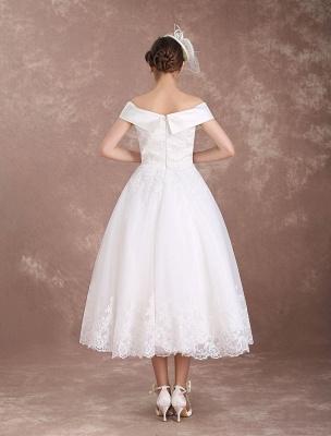 Vintage Wedding Dresses Off The Shoulder Short Bridal Dress 1950'S Lace Applique Beaded Tea Length Wedding Reception Dress Exclusive_7