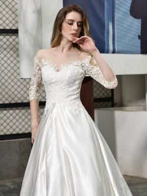 Vestido de novia simple Cuello joya Medias mangas Una línea Vestidos de novia con cuentas con tren_6