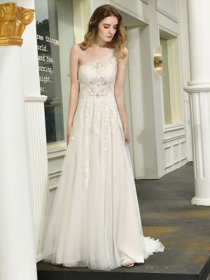 Bridal Dress 2021 One Shoulder Sleeveless Buttons Bridal Dresses With Train_7