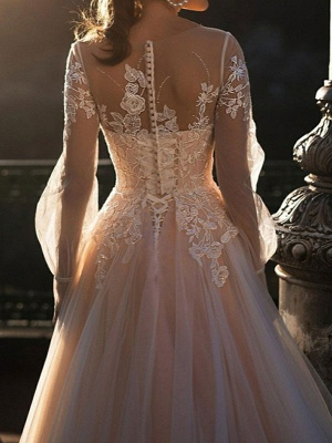 White Wedding Dresses A-Line Court Train Long Sleeves Single Thread Tulle Buttons Illusion Neckline Bridal Gowns_3