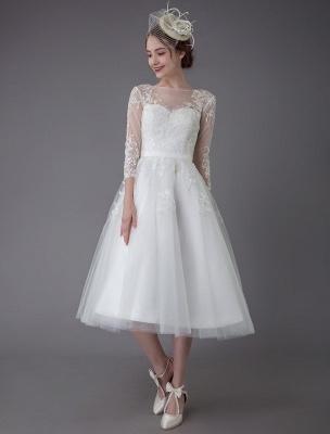 Vintage Wedding Dresses Tulle Bateau 3/4 Length Sleeve A Line Bridal Gown Short Bridal Dress Exclusive_2