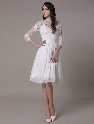 Simple Wedding Dressses Chiffon V Neck Lace A Linepleated Bridal Dress Exclusive_2