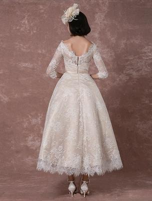 Lace Wedding Dress Vintage Bateau Champagne Half Sleeves Bridal Gown A Line Backless Tea Length Sash Reception Bridal Dress Exclusive_6
