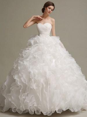 Brautkleider Prinzessin Ballkleider Trägerlos Schatz-Ausschnitt Plissee Rüschen Perlen Schärpe Tüll Elfenbein Brautkleid mit Zug_2