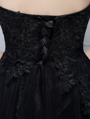 Black Prom Dresses Strapless Long Party Dress Lace Applique Sweetheart Illusion Formal Evening Dress_8