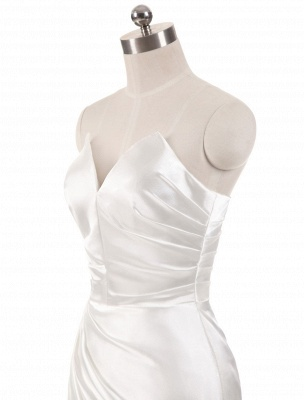 Ivory Wedding Dresses Strapless Mermaid Evening Dresses V Neck Sleeveless Split Beach Bridal Gown With Court Train_5