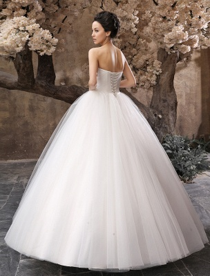 Princess Wedding Dresses 2021 Ball Gown White Maxi Strapless Sweetheart Neckline Tulle Floor Length Bridal Gowns_4