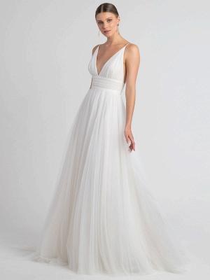 White Wedding Dress V-Neck Sleeveless With Train Natural Waist Backless Long Bridal Dresses_3