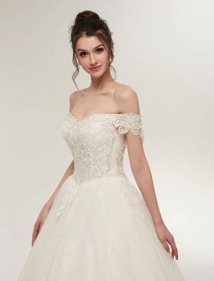 Princess Wedding Dresses Off The Shoulder Ivory Bridal Dresses Lace Applique Tulle Floor Length Ball Gowns_8
