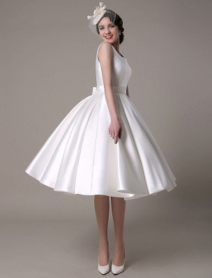 Ivory Wedding Dress Scoop Backless Knee Length Satin Wedding Gown Exclusive_2