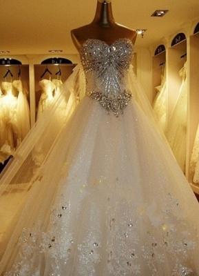 Brautkleider Spitze Applique Brautkleid Trägerlos Schatz-Ausschnitt Perlen Kathedrale Zug Brautkleid_2