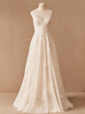 Robes De Mariée Vintage Bijou Cou Sans Manches Taille Surélevée Satin Tissu Avec Train Applique Robe De Mariée_6