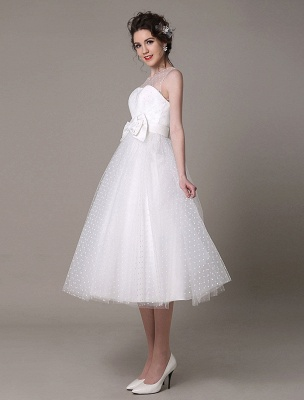 Vestido de novia de tul Sin tirantes Una línea Hasta el té Vestido de novia con lazo Exclusivo_4