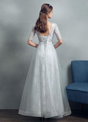 Robes de mariée d'été 2021 dentelle grise appliques Maxi robe de mariée dos nu demi-manches étage longueur robe de mariée_5