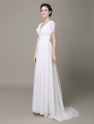Plunging Chiffon Beach Wedding Dress A-Line Ivory V-Neck Pleated Belt Short Sleeves Bridal Dress With Court Train Exclusive_3