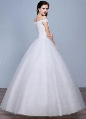 Lace Wedding Dress Off The Shoulder Floor Length Lace Up Applique Bridal Dress With Beads Sequins_4