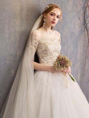 Tulle Wedding Dress Off The Shoulder Half Sleeve Princess Bridal Gown_8