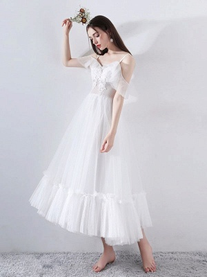Short Wedding Dress 2021 A Line V Neck Short Sleeves Tea Length Bridal Dresses_2