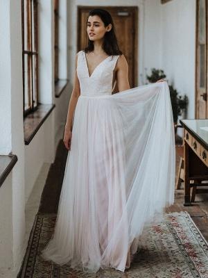 Einfache Hochzeitskleid Backless Brautkleider Chiffon V-Ausschnitt A-Linie Brautkleider_3