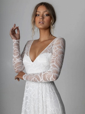 Ivory Lace Wedding Dress Chapel Train A-Line Long Sleeves Lace V-Neck Long Bridal Gowns_6