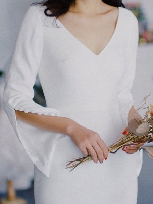 White Simple Wedding Dress Satin Fabric V-Neck Long Sleeves Buttons Mermaid Bridal Gowns_4