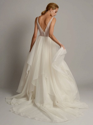 White A-Line Wedding Dresses With Train Sleeveless Backless Natural Waist Tiered V-Neck Long Bridal Dresses_3