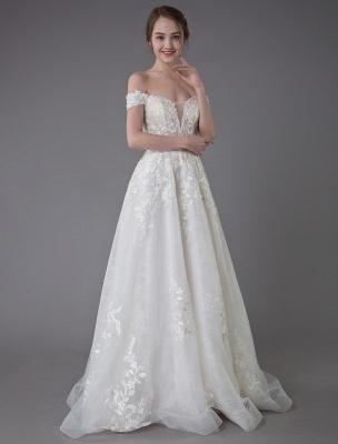 Robes de mariée d'été hors de l'épaule dentelle champagne appliques perles maxi plage robes de mariée_7