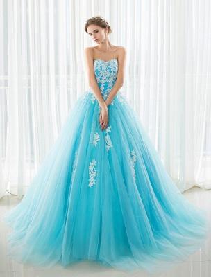 Blaues Hochzeitskleid Spitze Applique Tüll Hof-Schleppe Trägerlos Schatz Lace-Up A-Linie Brautkleid_5