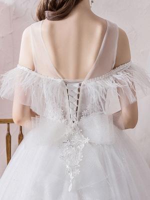 Wedding Dress Princess Silhouette Jewel Neck Short Sleeves Natural Waist Cathedral Train Bridal Dresses_8
