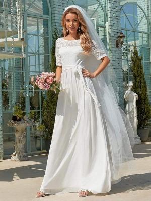 Weißes Einfaches Brautkleid Chiffon Jewel Neck Kurze Ärmel Schärpe A-Linie Lange Brautkleider_2