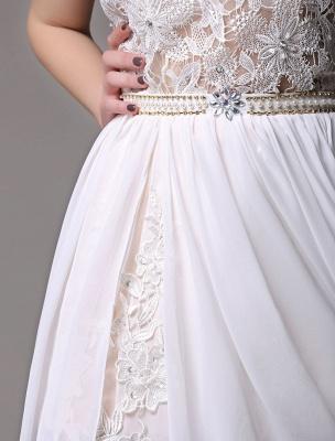 White Prom Dresses 2021 Long Ivory Halter Backless Evening Dress Lace Applique Beading Chiffon Split Party Dress_13