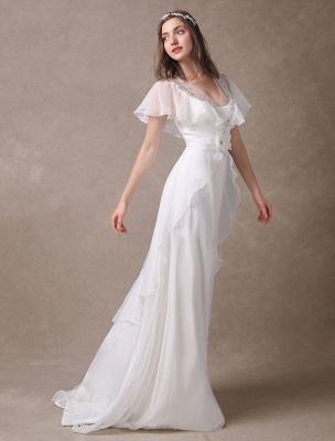 Glamorous Court Schleppe Elfenbein Brautkleid mit Perlenstickerei V-Ausschnitt Exklusiv_1