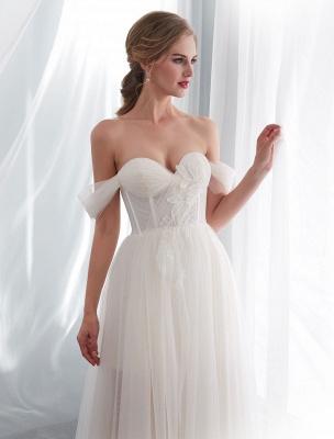 Brautkleider Tüll Elfenbein Schulterfrei Sweetheart Beach Brautkleid mit Schleppe_8