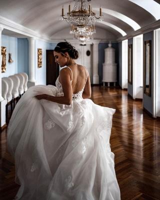 Einfache A-Linie Brautkleider Weißer V-Ausschnitt Tüll Spitzenapplikationen Brautkleid_2