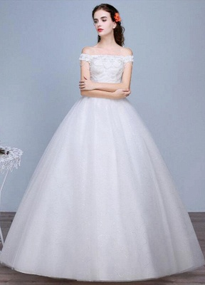 Lace Wedding Dress Off The Shoulder Floor Length Lace Up Applique Bridal Dress With Beads Sequins_9