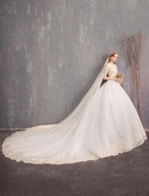 Tulle Wedding Dress Off The Shoulder Half Sleeve Princess Bridal Gown_14