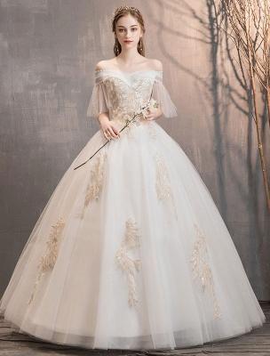 Prinzessin Brautkleid Elfenbein schulterfreies bodenlanges Brautkleid_2