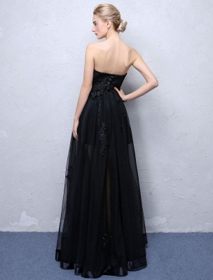 Black Prom Dresses Strapless Long Party Dress Lace Applique Sweetheart Illusion Formal Evening Dress_5