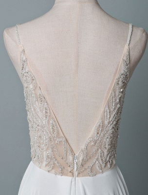 Simple Wedding Dress A Line V Neck Sleeveless Embroidered Chiffon Bridal Dresses With Train_6