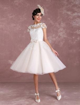 Vintage Wedding Dresses Short Lace Applique Bridal Gown Illusion Bow Sash Bridal Dress Exclusive_1
