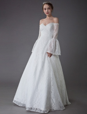 Princess Wedding Dresses Lace Off The Shoulder Long Sleeve A Line Floor Length Bridal Gown Exclusive_4