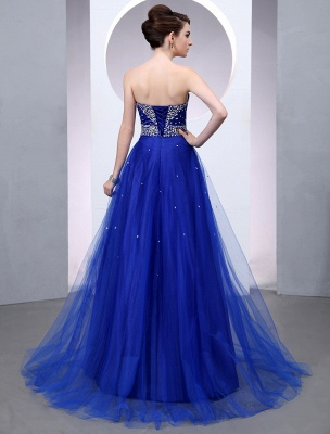 Blaues Abendkleid 2021 Langes Tüll Brautkleid Royal Blue Backless Strapless Sweetheart Court Train Brautkleid_5
