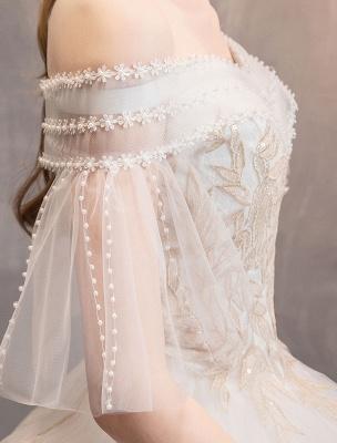 Prinzessin Brautkleid Elfenbein schulterfreies bodenlanges Brautkleid_9